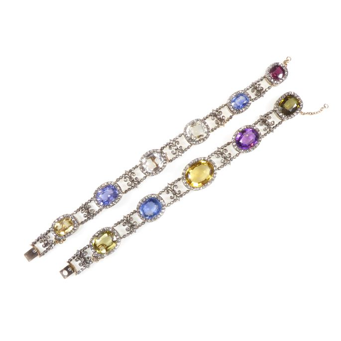 Set of two vari-coloured gem and diamond cluster bracelets forming a choker necklace | MasterArt