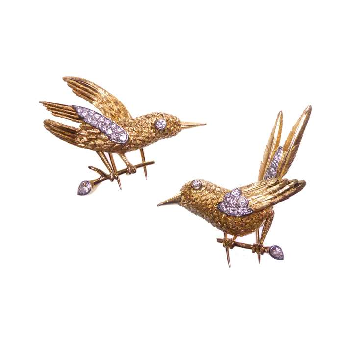 Set of two gold and diamond bird brooches