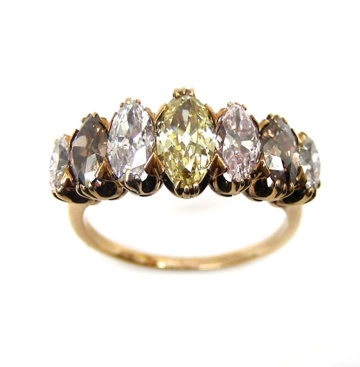 Seven stone marquise cut white and coloured diamond ring