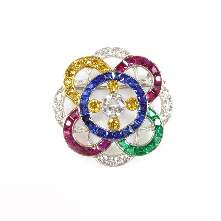 Shaped round overlapping circles brooch in white and yellow diamond, sapphire, ruby and emerald