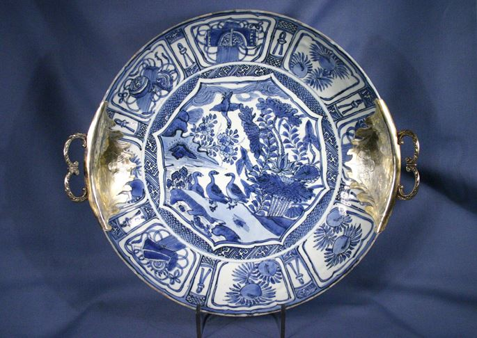 Silver gilt mounted Chinese Wanli period (1566-1619)  blue and white porcelain dish, the mounts probably English | MasterArt