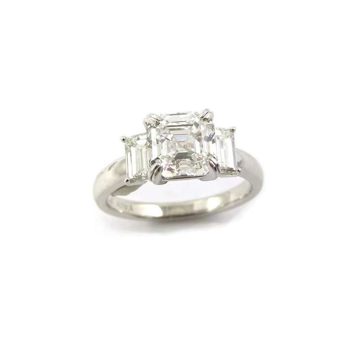 Single stone Asscher cut diamond ring, set with a 2.02ct D VS2 stone