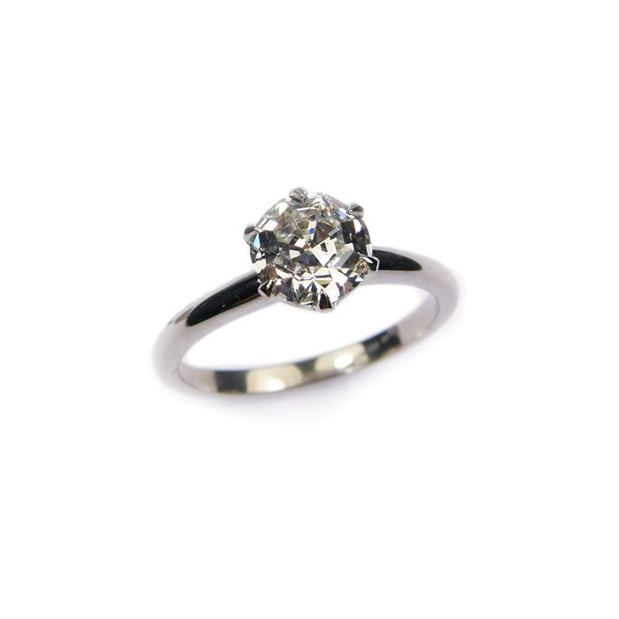 Single stone diamond ring, claw set with a 1.25ct rounded octagonal step cut diamond | MasterArt