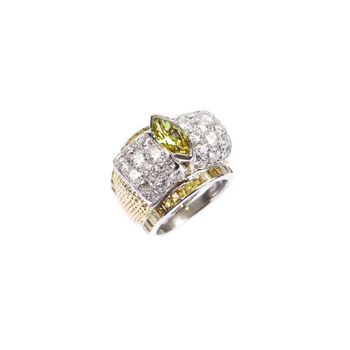 Single stone fancy deep yellow marquise cut diamond ring