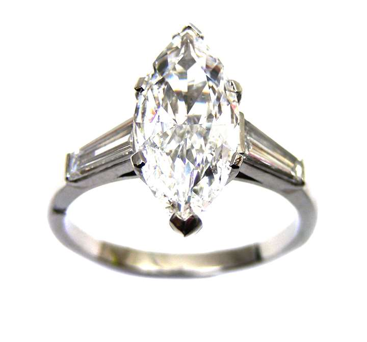 Single stone marquise cut diamond ring, 2.01cts D VS2,