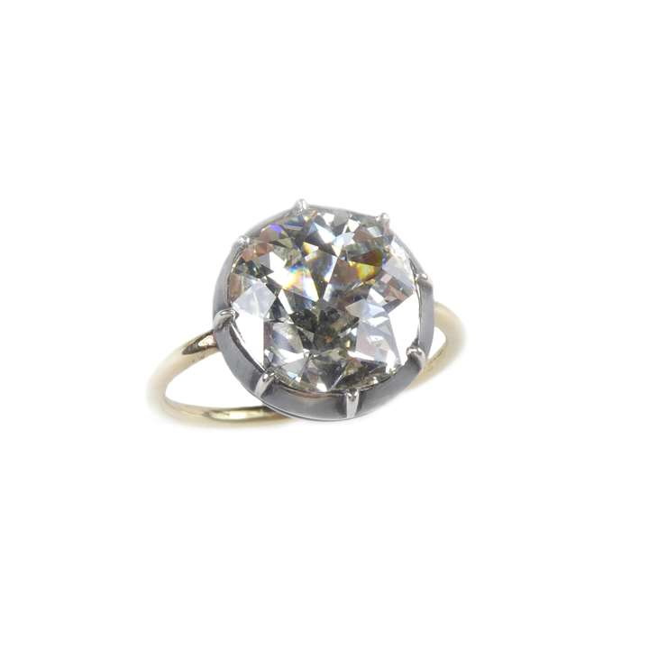 Single stone old cut diamond collet ring, antique style