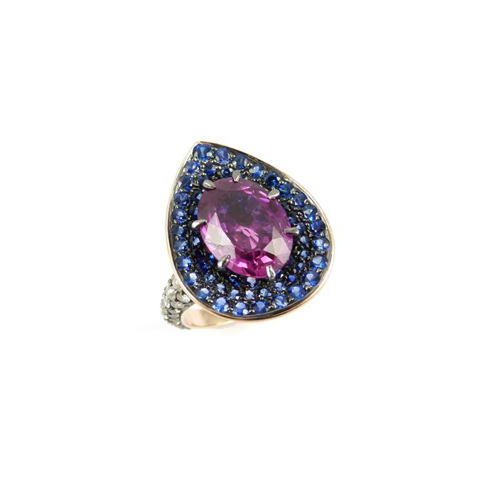 Single stone oval cut pink sapphire, sapphire and diamond cluster ring, centred by a 5.58ct purplish-pink Ceylon sapphire | MasterArt