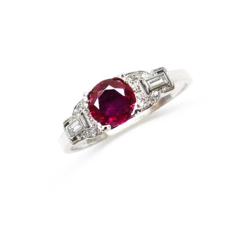 Single stone ruby and diamond ring, centred by a round cut Burma ruby