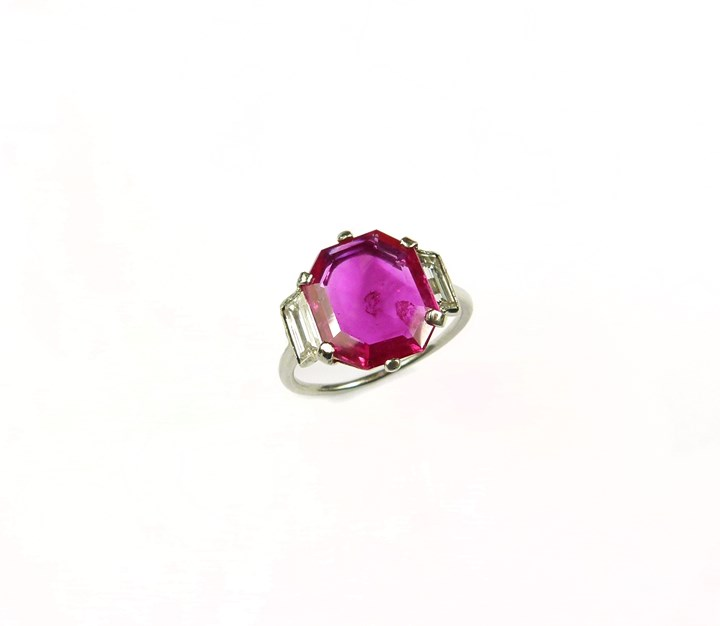 Single stone ruby and diamond ring