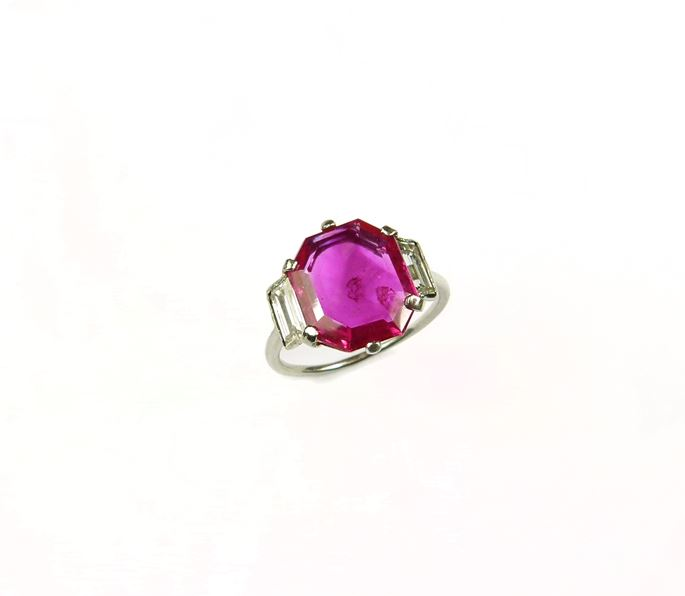 Single stone ruby and diamond ring, set with an octagonal cut Burma ruby | MasterArt