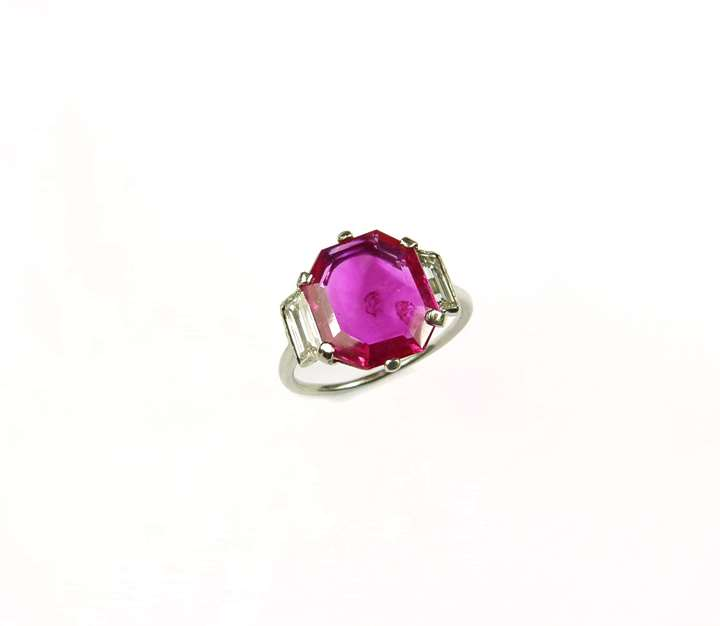 Single stone ruby and diamond ring, set with an octagonal cut Burma ruby