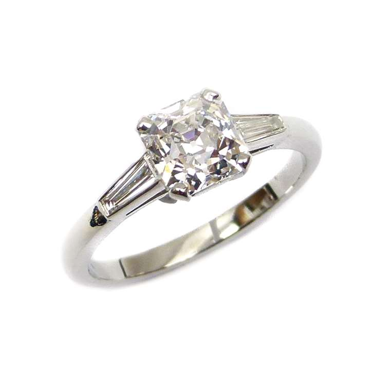 Single stone square cut-corner diamond ring
