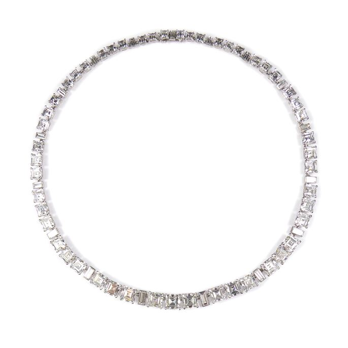 Cartier - Square and rectangular cut diamond necklace | MasterArt