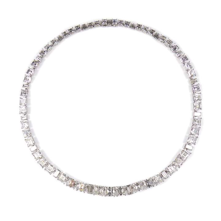 Square and rectangular cut diamond necklace