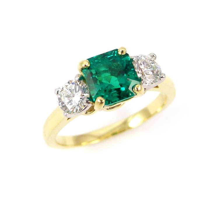 Square cut emerald and diamond three stone ring, the trap-cut emerald, 1.48ct