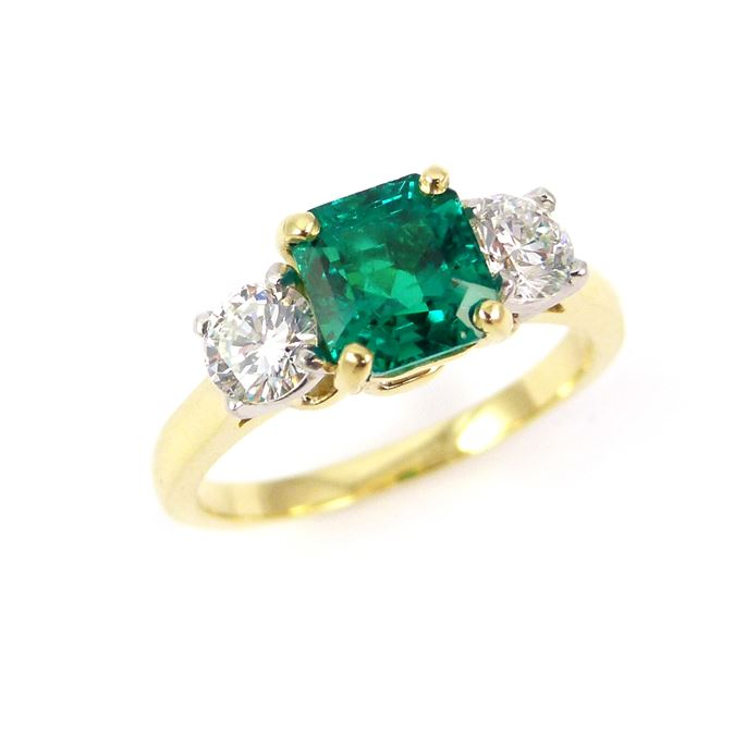 Square cut emerald and diamond three stone ring | MasterArt