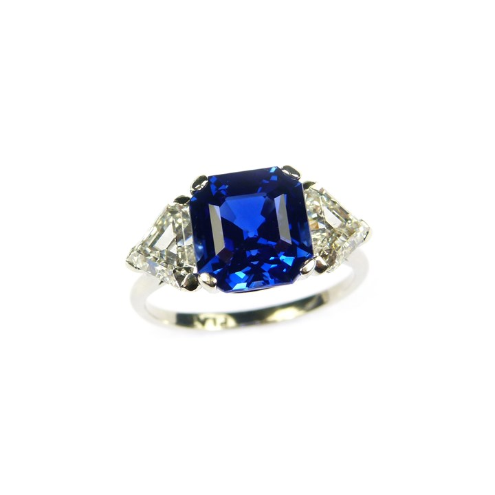 Square cut sapphire and diamond ring, the cut-corner step cut Ceylon sapphire 5.50ct