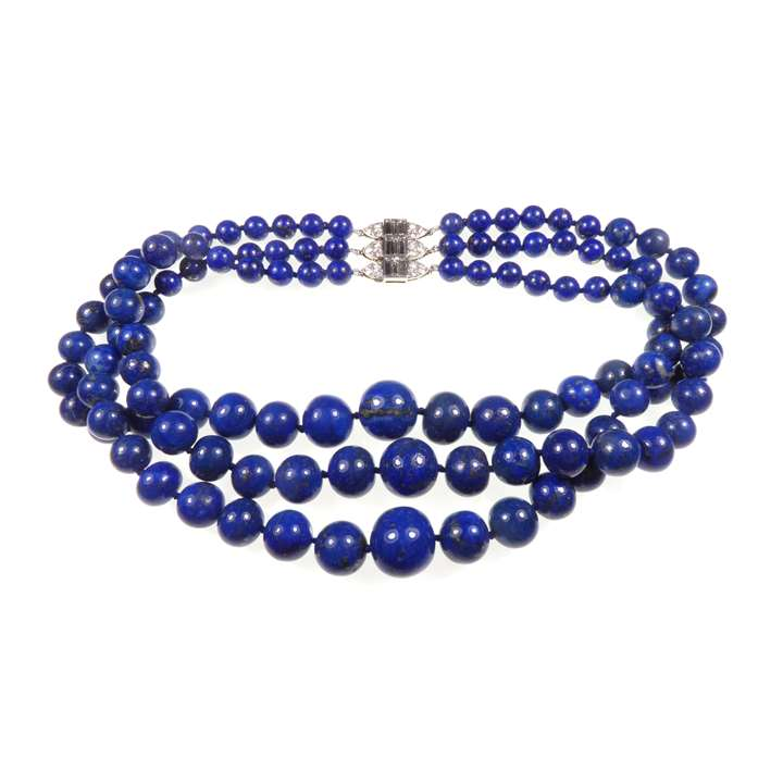Three row graduated lapis lazuli bead necklace with diamond clasp