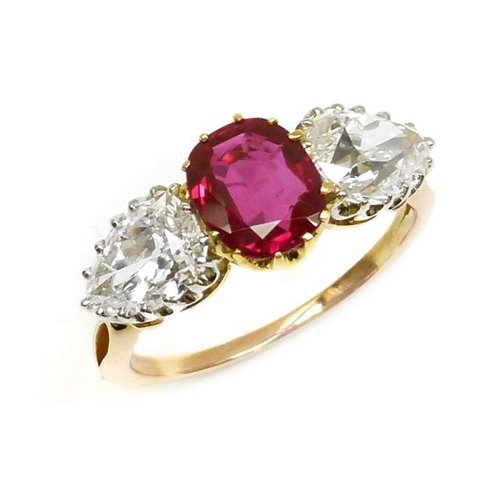 Three stone Burma ruby and diamond ring