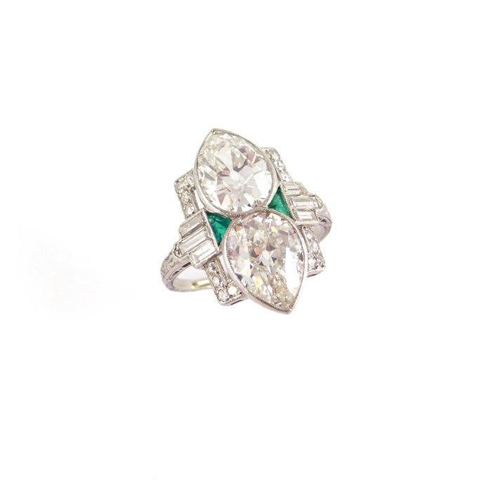 Two stone pear shaped diamond and gem set cluster ring | MasterArt