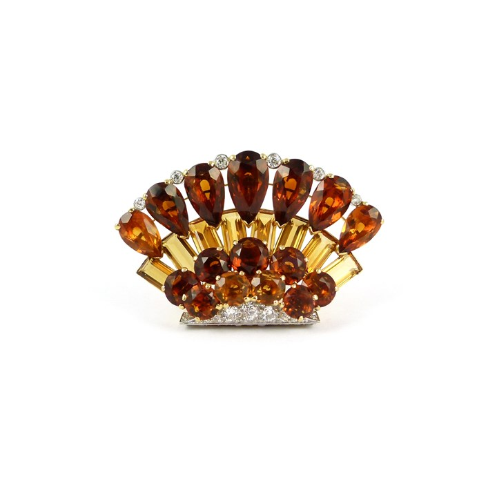 Two tone citrine and diamond clip brooch
