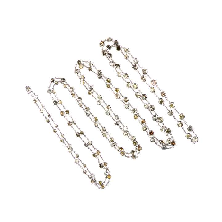 Vari-coloured diamond spectacle set long chain necklace
