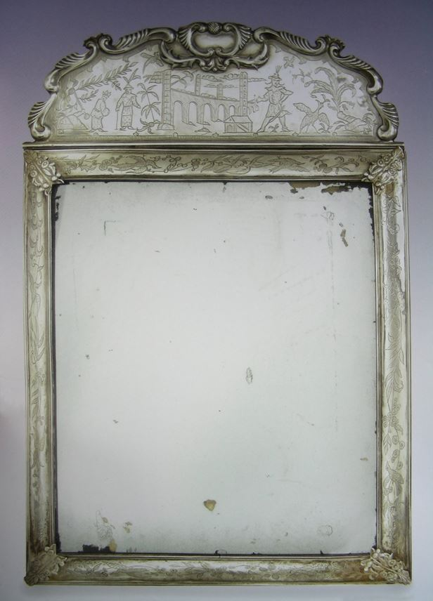 Anthony Nelme - William & Mary chinoiserie silver mirror | MasterArt