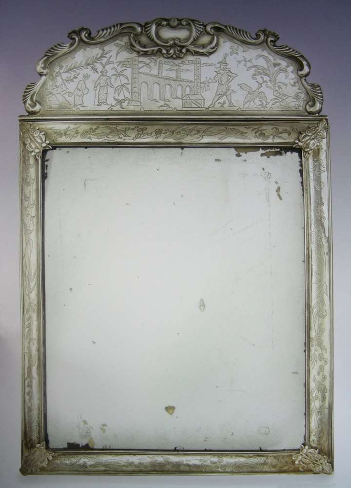 William & Mary chinoiserie silver mirror by Anthony Nelme
