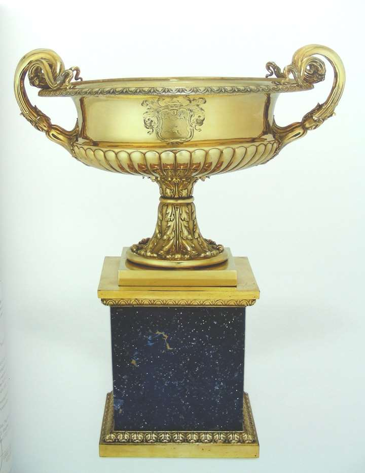William IV silver gilt two handled urn vase