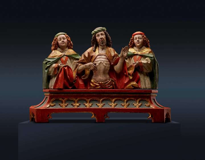 Man of Sorrows flanked by two Angels