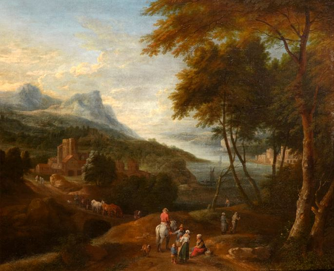 Adraen Frans Boudewijns  - An Extensive River Landscape with Figures around a Village with a Town in the Distance & An Extensive Mountainous Landscape with Figures before a Building  | MasterArt