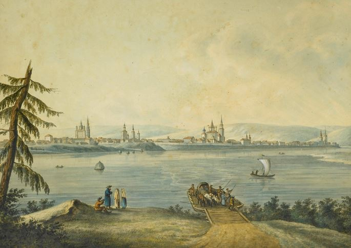 Andrey Yefimovich Martynov - The Port of Nikola at the Mouth of the River Angara & View of Irkutsk | MasterArt