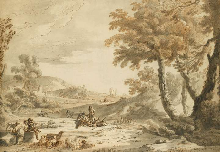 Landscape Animated with Musicians, Shepherds and Fishermen