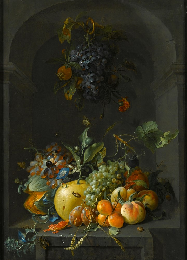 Still Life of Grapes, Melons, Peaches, Plums and other Fruit with Morning Glory and Shafts of Wheat  in a Stone Niche, with a Bunch of Grapes and Medlars Hanging Above