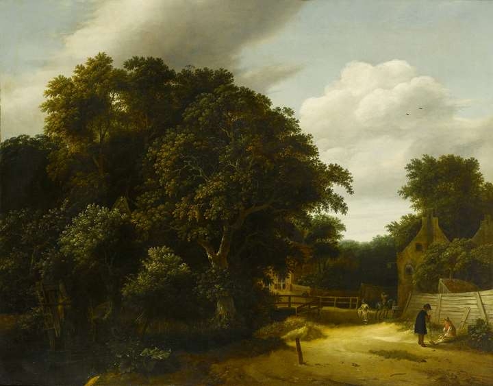 Landscape with a Village Road and Figures Conversing in the Right Foreground & Landscape with a Farmyard and Figure Drawing Water from a Well, other Figures Conversing Nearby