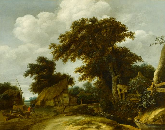 Cornelis Gerritsz. Decker - Landscape with a Village Road and Figures Conversing in the Right Foreground & Landscape with a Farmyard and Figure Drawing Water from a Well, other Figures Conversing Nearby | MasterArt