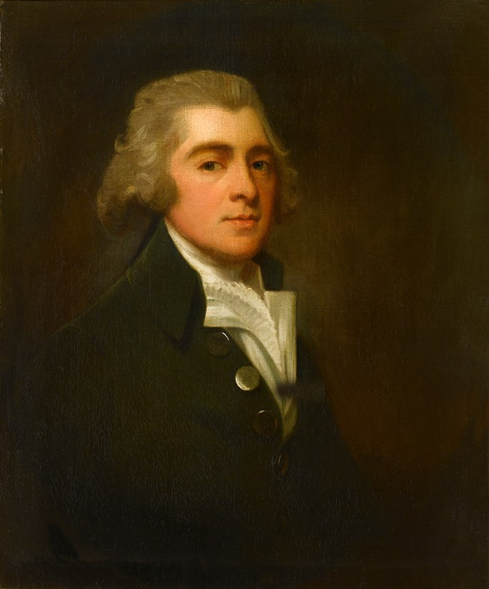 George Romney - Portrait of a Gentleman, Half-Length, Wearing a Dark Coat and White Stock | MasterArt
