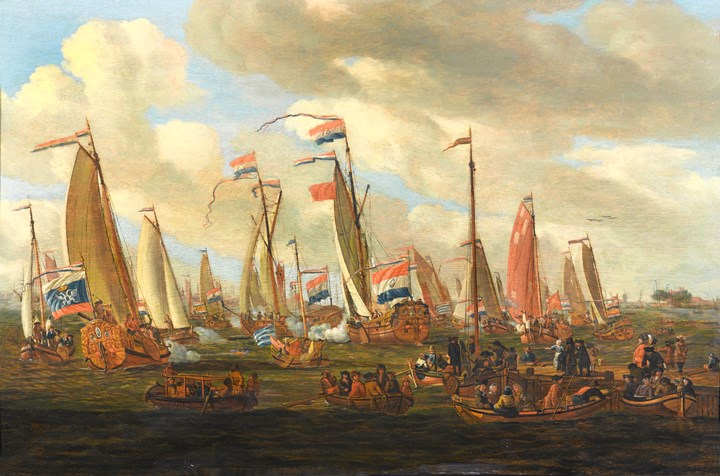 Tsar Peter the Great Viewing the Mock Sea Battle  Held in his Honour in the IJ, off Amsterdam, 1st September 1697