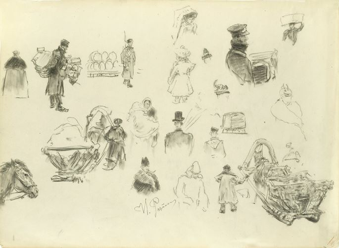 Ilya Yefimovich Repin - Studies for Figures on the Nevsky Prospect in St. Petersburg | MasterArt
