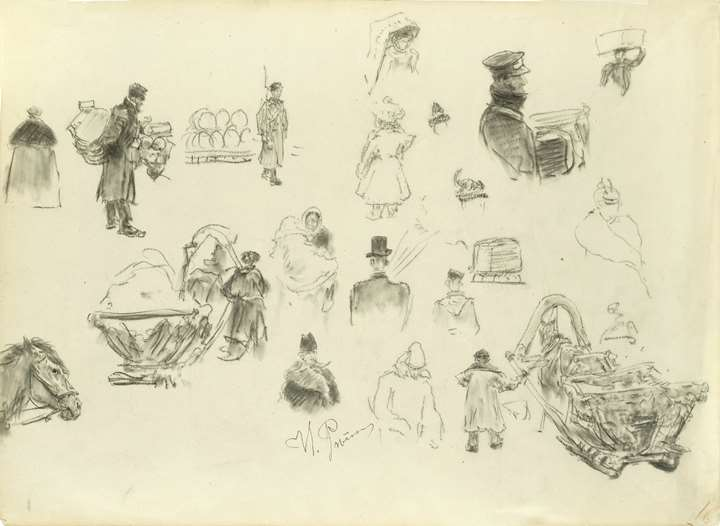 Studies for Figures on the Nevsky Prospect in St. Petersburg