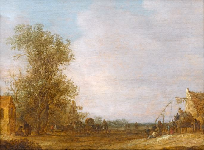 Jan van Goyen - A Wooded Landscape with Travellers by the Swan Inn and at another Inn Opposite | MasterArt
