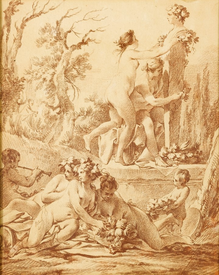A Bacchanale: Naked Nymphs decorating a Herm