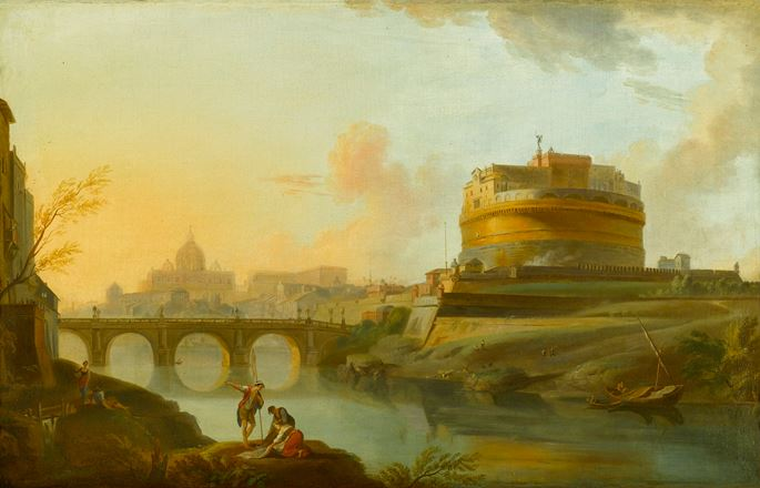 Jean-Baptiste Lallemand - View of the Tiber, Rome, with the Castel Sant'Angelo and St. Peter's beyond | MasterArt
