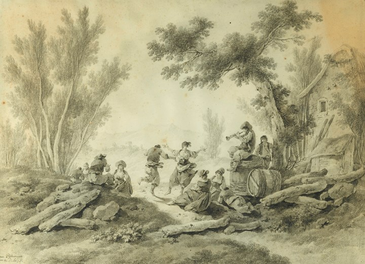 Peasants Resting and Dancing to a Piper beside a Farm