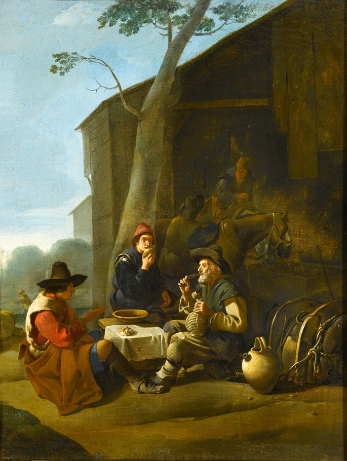 Johannes Lingelbach - Peasants Resting Before an Inn | MasterArt