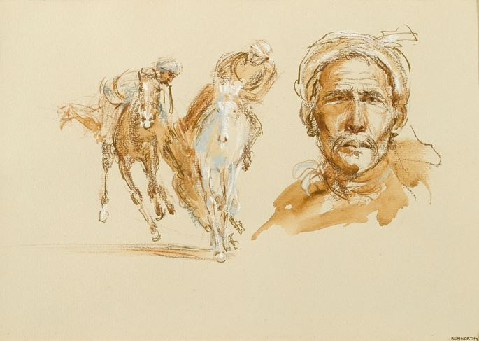 "Jonathan Kenworthy - ""Afghan Head with Two Riders Fighting for a Carcass"" & ""Two Chapandaz"" 
