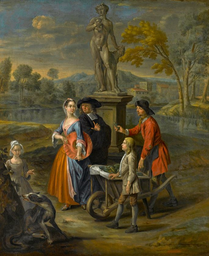 "Joseph van Aken - ""A Vegetable Seller and his Son Offering Wares to a Lady and a Cleric by a Statue of Bacchus"" & ""A Vegetable and Fruit Market by a Statue of Venus, with a Town by a River Beyond"" 