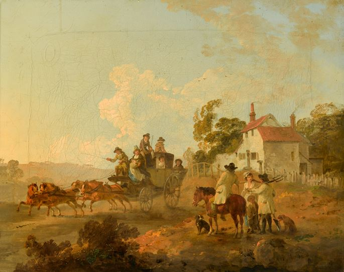 Julius Caesar Ibbetson - A Landscape with Travellers in a Horse Drawn Carriage and Figures Conversing by a Track | MasterArt