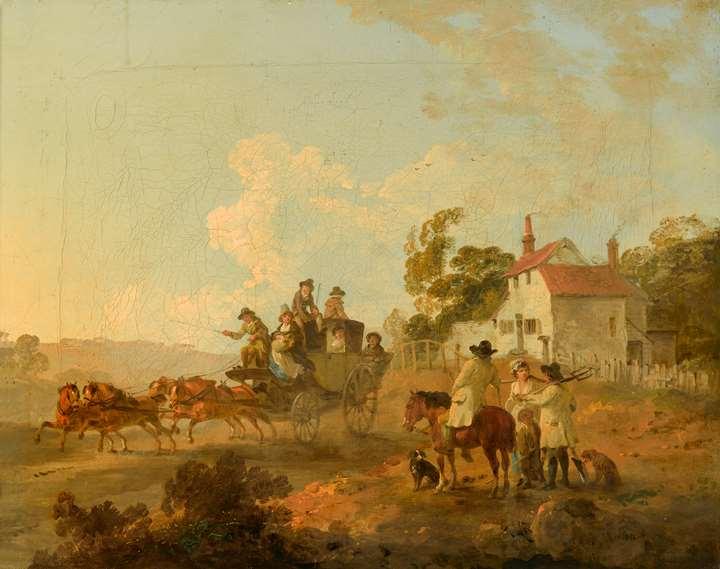 A Landscape with Travellers in a Horse Drawn Carriage and Figures Conversing by a Track
