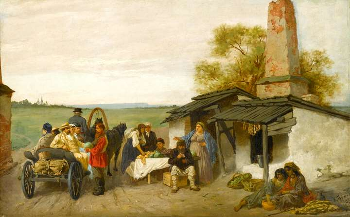 City Travellers Being Offered Fruit at a Ukrainian Roadside Dwelling